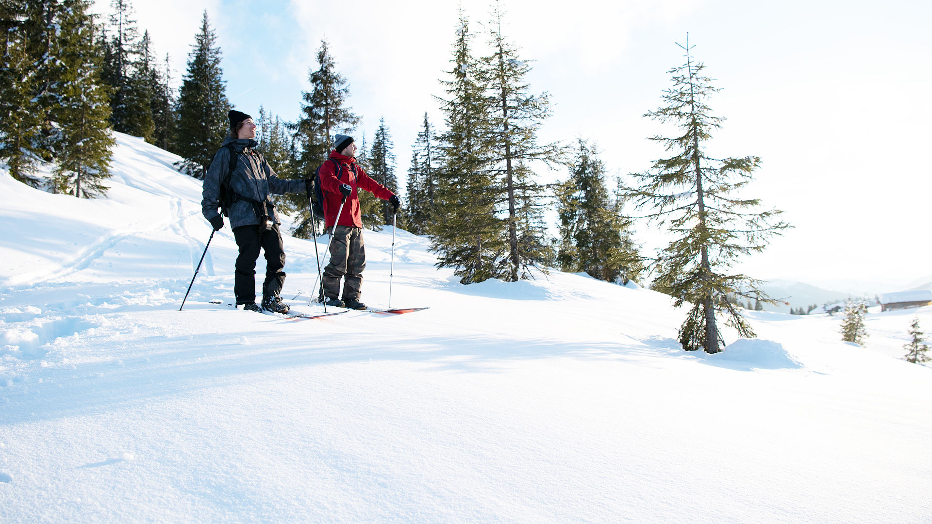 Two splitboarders standing on the mountain