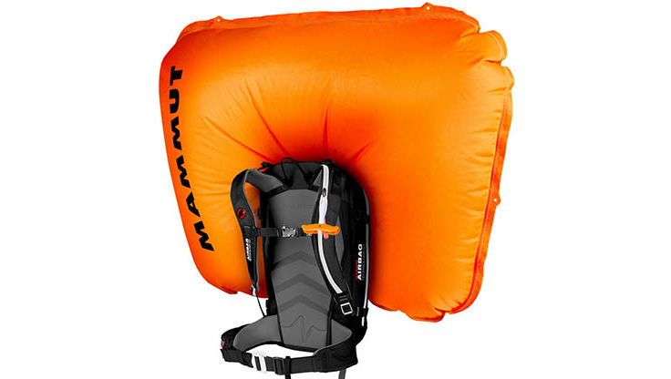 Inflated avalanche backpack by Mammut