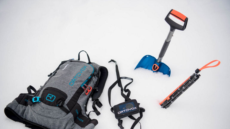 Touring equipment, backpack, probe, shovel and transceiver from Ortovox
