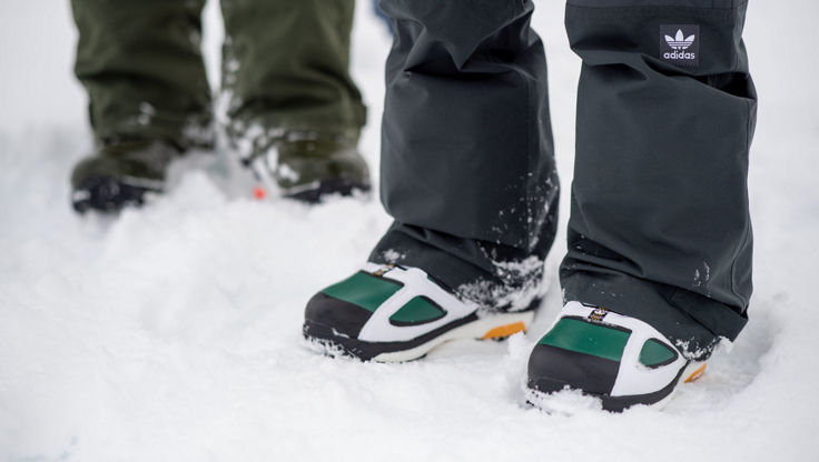 The cushioning soles of an adidas snowboard boot