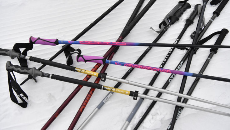Telescopic ski poles on snow