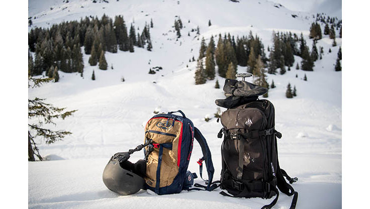Avalanche backpacks which have space for shovels and probes by BCA and Jones