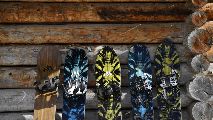 Two solid boards and two splitboards from Jones