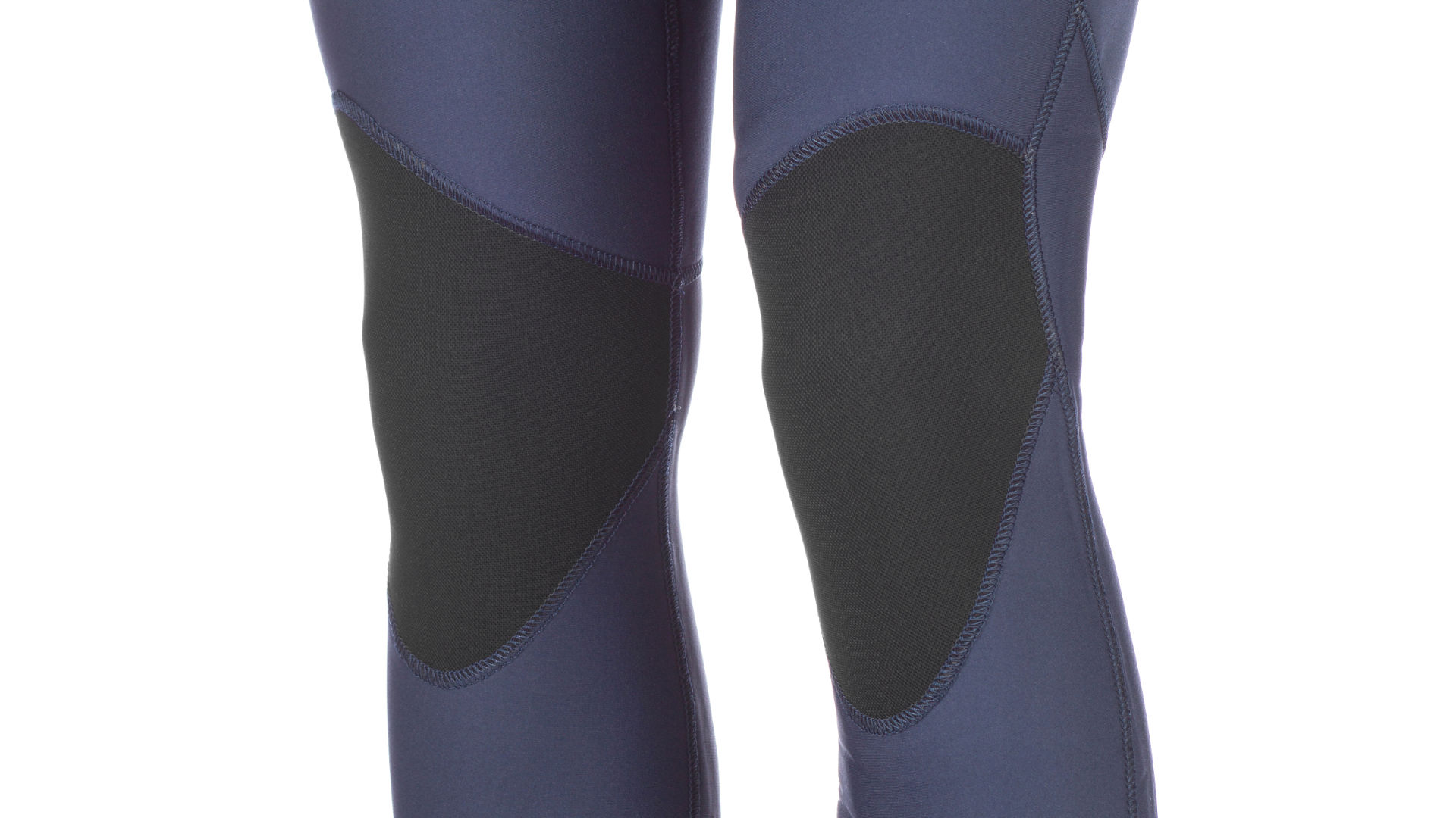 The reinforced knees of a full wetsuit
