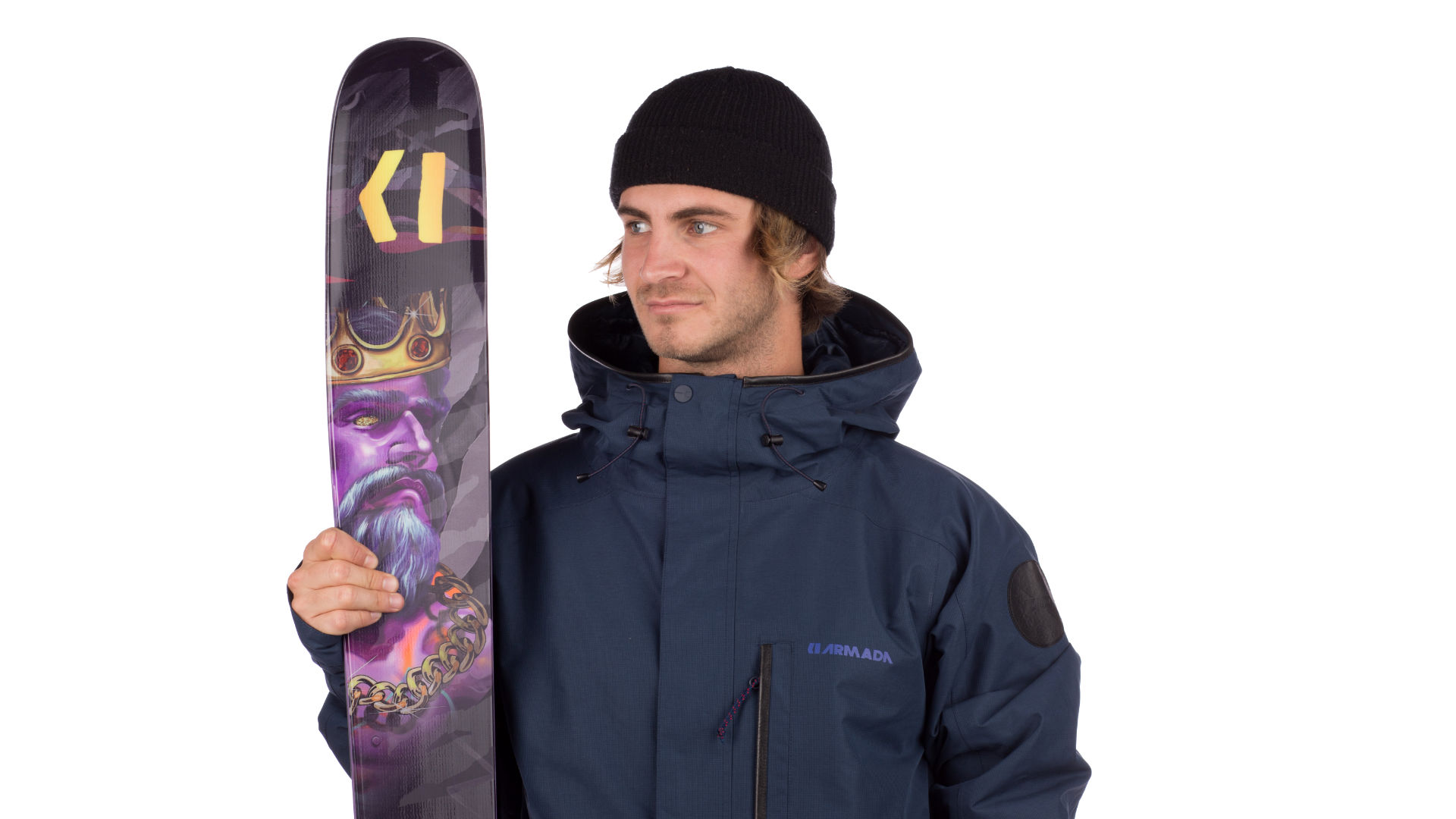 Model with a pair of freeride freeskis