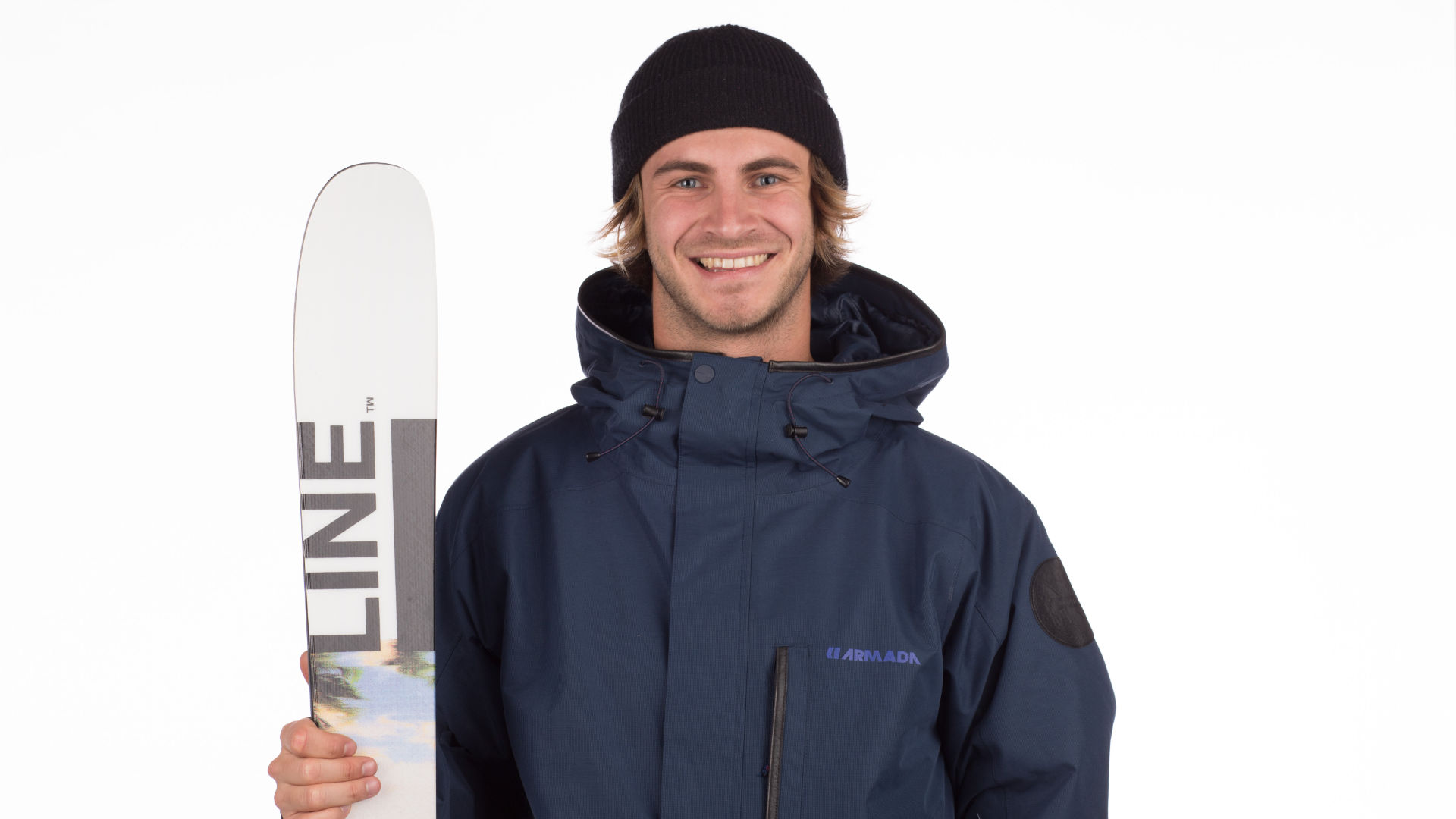 Model with a pair of freestyle freeskis