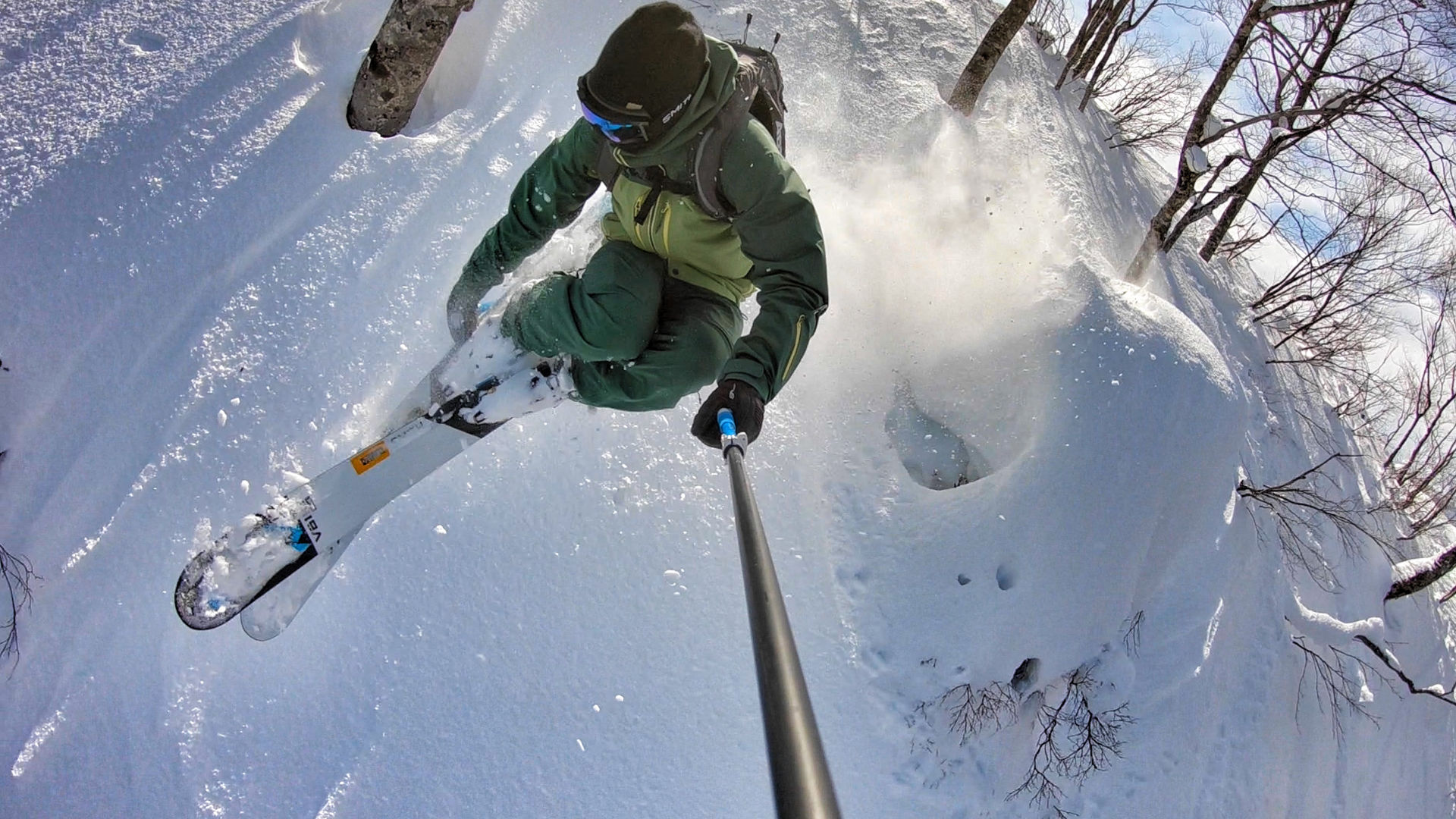 Blue Tomato Team Rider Fabio Studer freeriding in Japan with wide skis