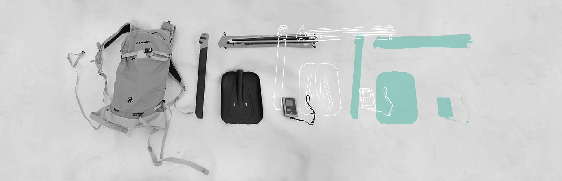 Closeup von einem Lawienenausrüstungs-Set