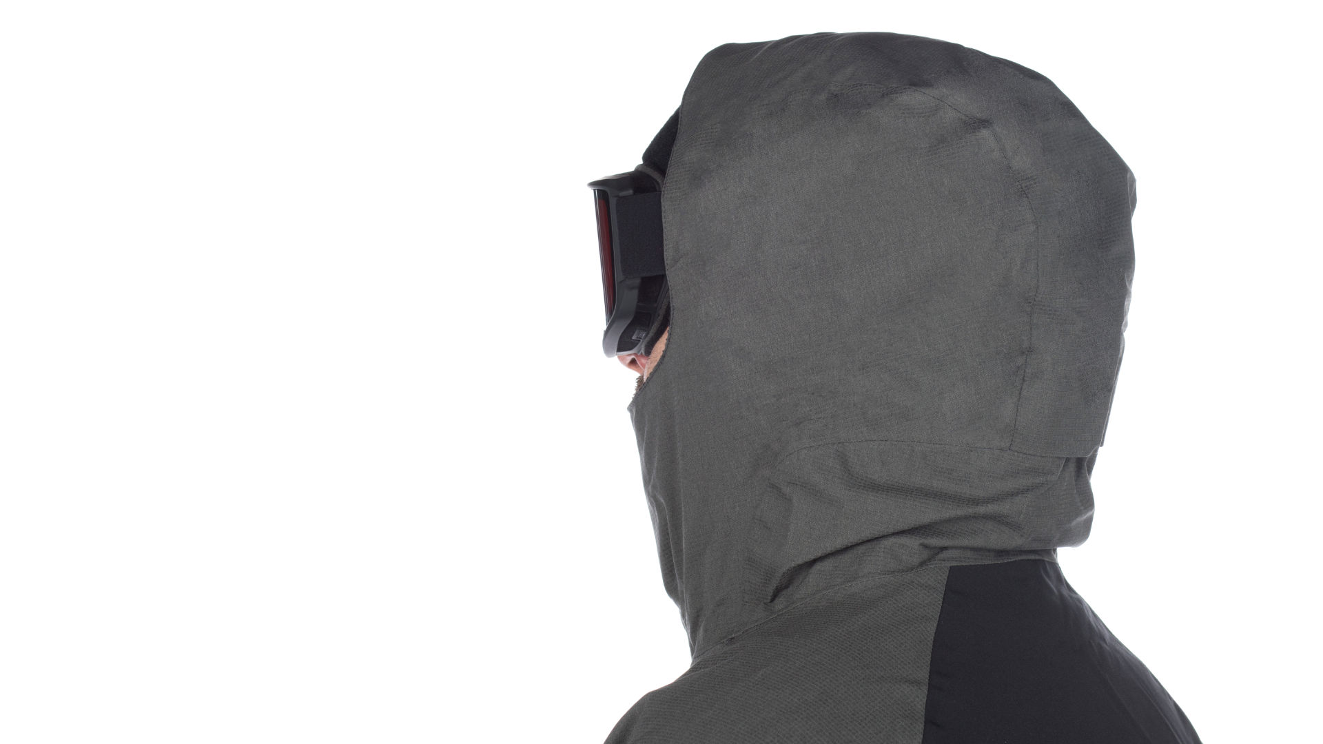 The hood of a snowboard jacket