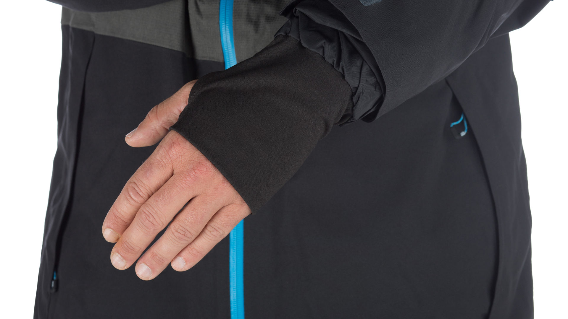 rider showing the wrist gaiters on his snowboard jacket