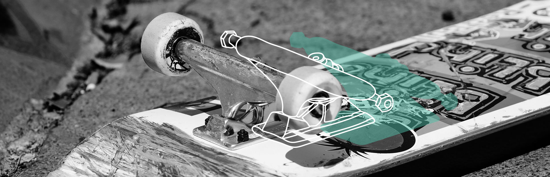 Skateboard trucks closeup