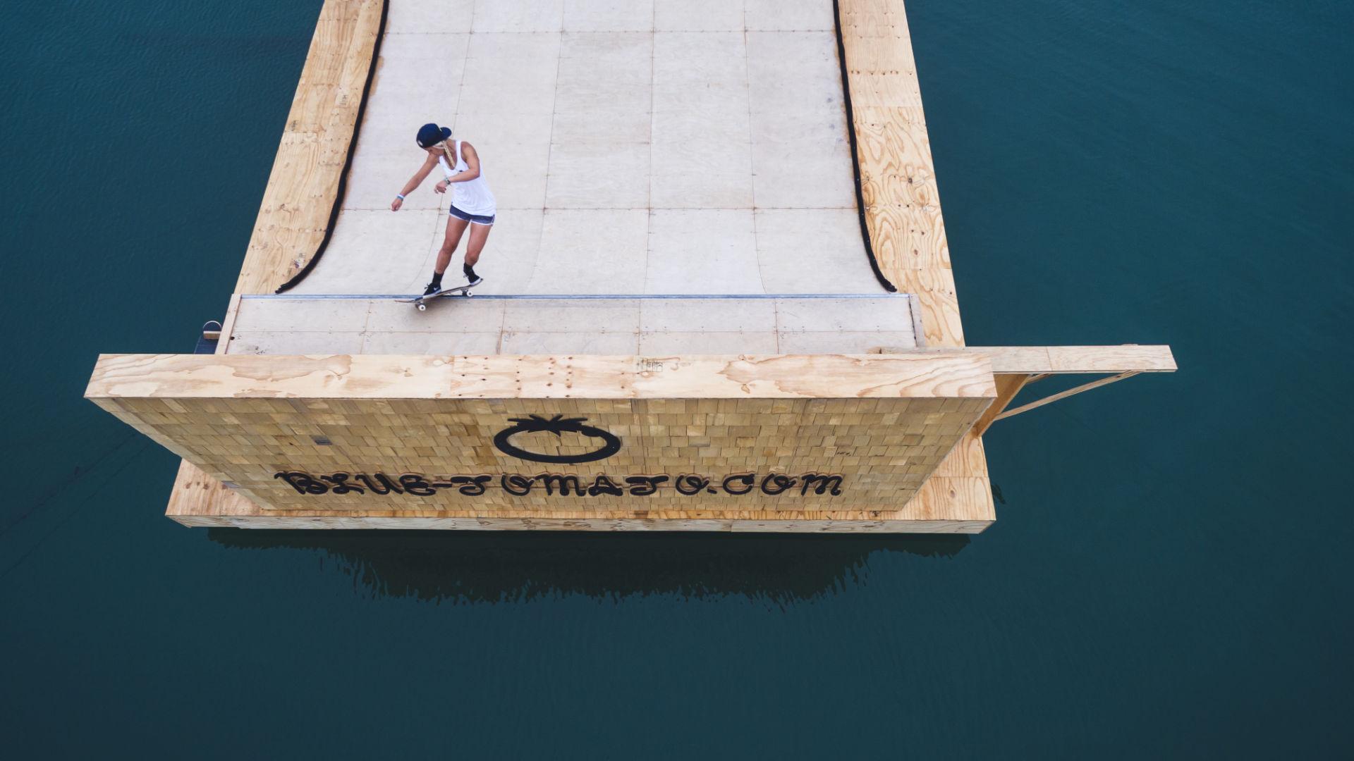 Teamrider Julia Brückler skating on a floating Blue Tomato miniramp