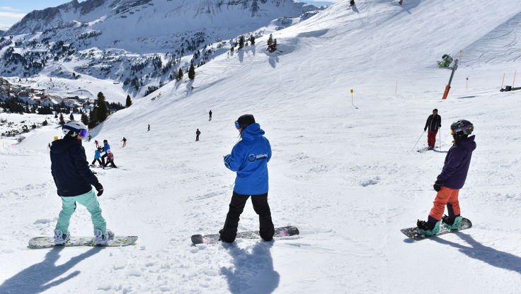 Snowboard Instructor and beginner snowboarders in Obertauern