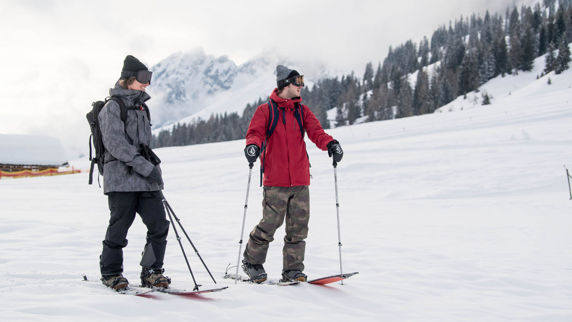 Splitboarding in the backcountry with stiff snowboard boots