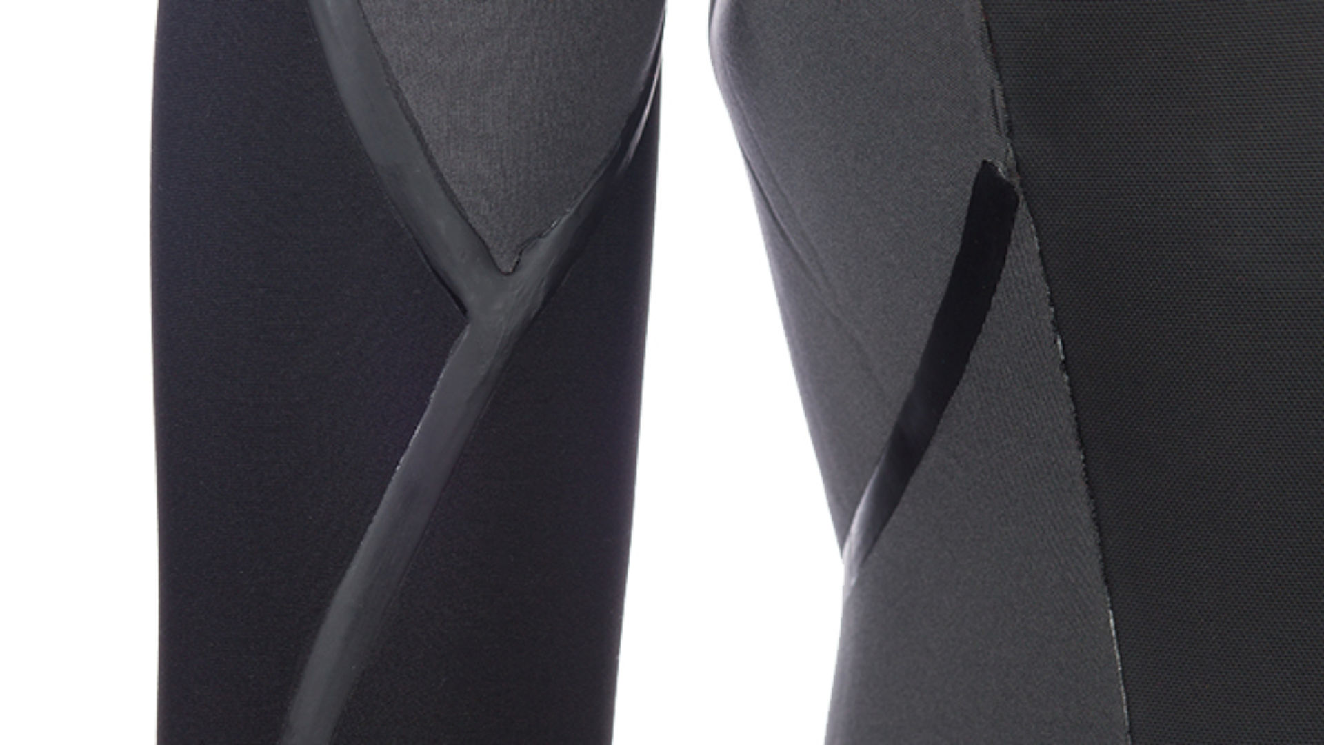 The inside of wetsuit legs with liquid seam sealing