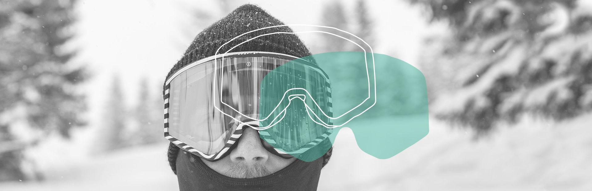A spheric mirrored snowboard goggle closeup