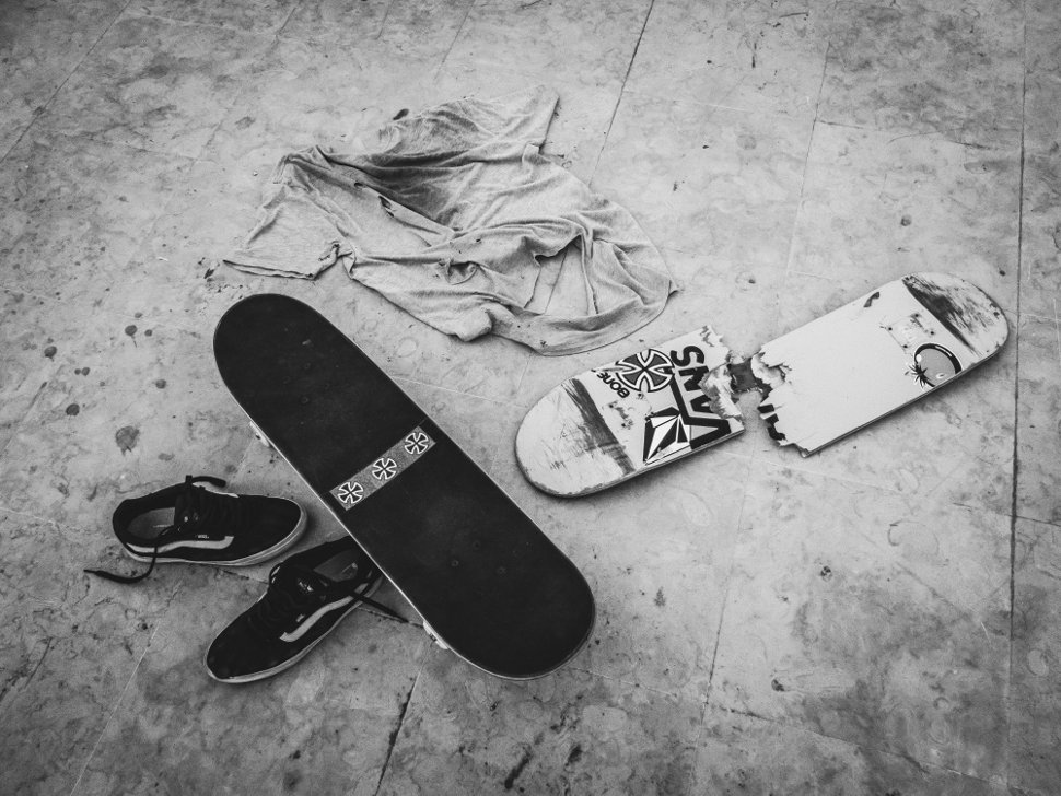 Marco Kada's destroyed shirt and deck