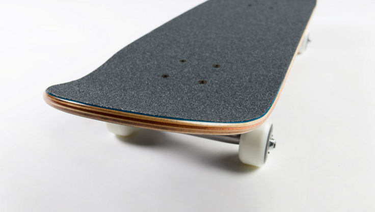 The nose of a complete skateboard