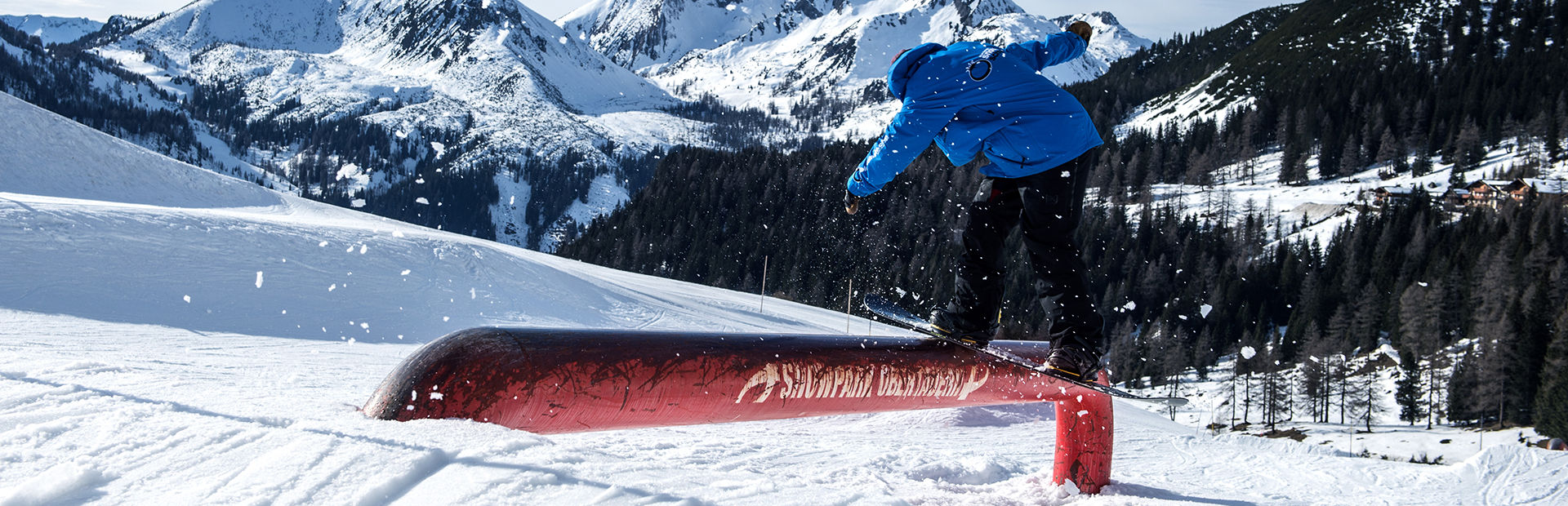Snowboard Teacher on Rail at Obertauern Snowpark