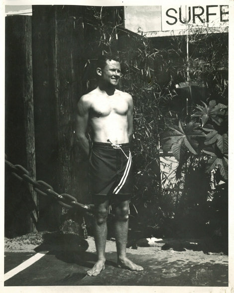 Corky Caroll, who would become one of the world's frist professional surfers, in one of Walter's first tailor-made canvas trunks